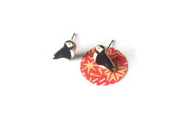Puffin earrings, puffins, seaside bird studs