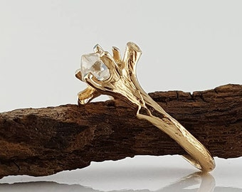 Raw Diamond Twig Engagement Ring, Solitaire Only by Dawn Vertrees
