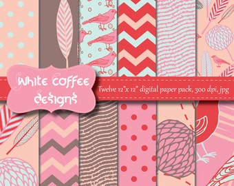 Flowers digital paper, Collage Sheets, Scrapbook Paper, Birds, Leaves, Pink, Red, Aqua Paper, baby girl, supplies, paper goods, pattern