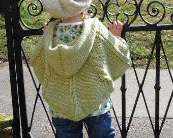 PONCHO KNITTING PATTERNS - newborn to 3 years - cabled poncho - pdf instant download