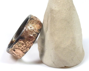 Steel and Rose Bronze Ring, Mixed Metal Ring for Men or Women, Men's Steel Ring