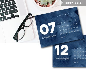 2018 Calendar, 2018 Printable Calendar, Printable Calendars, Navy + White Watercolor 2017 - 2018 Printable Calendar, PDF Ca