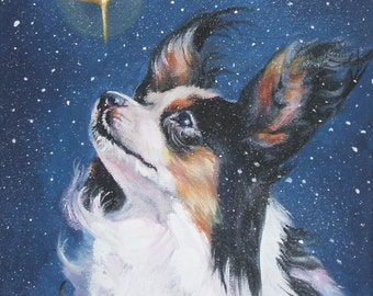 "PAPILLON dog art portrait canvas PRINT of LAShepard painting 12x12"" christmas star"