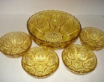 SALE - Vintage Amber Bowl Set - 7 Medallion Pattern  - Honey Gold - by Anchor Hocking