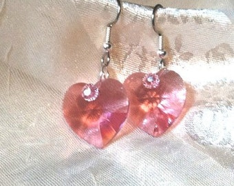 Pink Heart Earrings in Swarovski Crystals and Sterling Silver