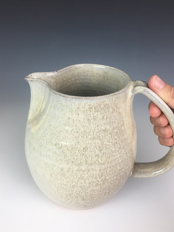 Pottery Pitcher in Speckled White