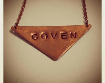 Coven Necklace, Handstamped Copper Witch Necklace, Feminist Halloween