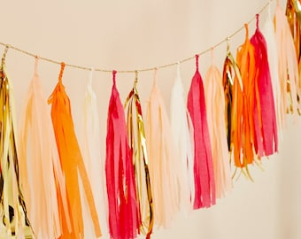 Peach Pop Tassel Garland
