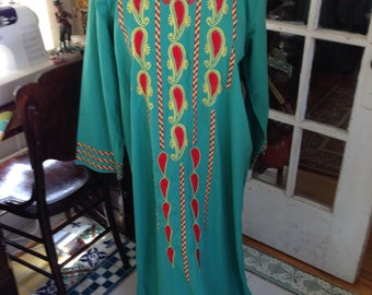 70's jade green embroidered caftan