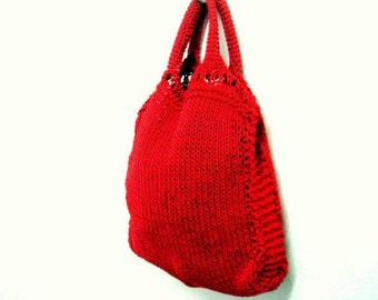 Knit Tote Pattern Grocery Shopping Bag Knitting Pattern