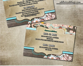 Rustic Mason Jar Accommodations or Reception Card -Printable wedding cards with Rustic Wood Elements & Flower Flourish Elements