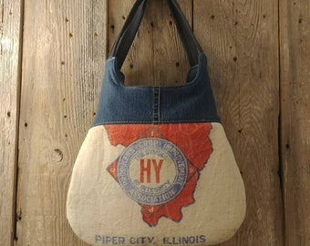 Vintage Piper City, Illinois seed sack upcycled