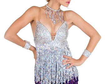 Latin Dance Dress - Sucinta Fiera, Sequin fringe dress, latin fringe dress, latin dress, latin dance dress