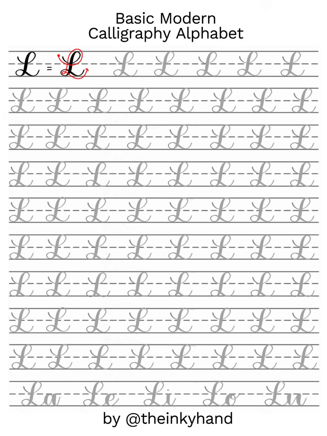 Worksheets Typing Practice Worksheets basic modern calligraphy practice sheets by theinkyhand