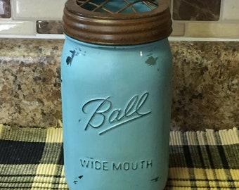 Painted quart mason jars with burlap ribbon or rustic frog lid