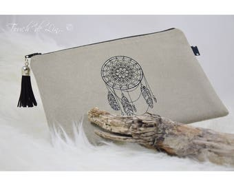 """POUCH bag in suede beige embroidery """"dream catcher."""