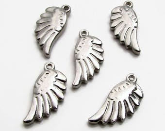 Wing Charm, Stainless Steel Angel Wing - Set of 5 SST Findings 20x10.5x3.5mm, Small Wing Charm, Double Sided Wing Charm