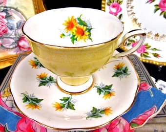 Royal Standard Tea Cup and Saucer Yellow Floral Teacup Flared