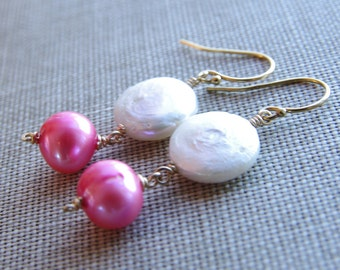 Pink Pearl Earrings Dangle Earrings White Coin Pearl 14kt Gold Filled or Sterling Silver Bridesmaid Earrings Wedding Jewelry June Birthday