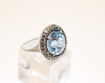 Vintage 935 Silver Ring Continental with Blue Topaz Stone and Marcasites USA size 7, UK size N-O Art Deco 1930s Vintage Jewelry Genuine Real