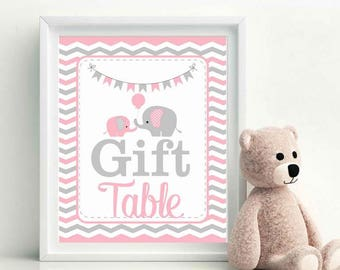 Gift Table Sign, Elephant Baby Shower Favor Sign, Pink and Grey Chevron, Party Sign, DIY Printable, Instant Download - D828 BBEP3