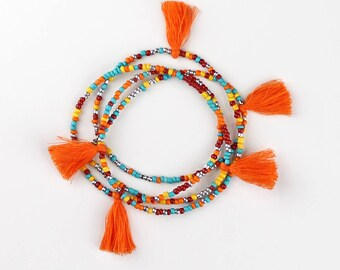 Beaded Tassel Necklace Longer Length Perfect for Layering Bohemian Hippie Style Necklace with a Southwestern Color Tone