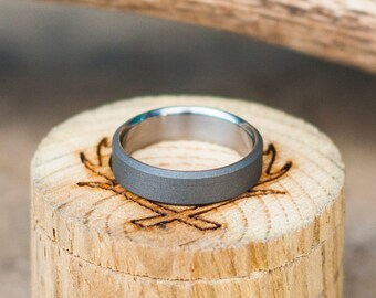 Men's Wedding Band - Narrow Sandblasted Titanium Ring - Staghead Designs