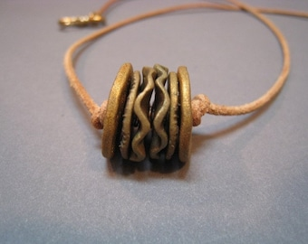 Artifact Inspired Textile Pattern Roller Bronze Necklace Horizontal - Textile Necklace - Archaeology