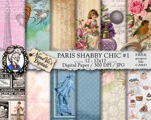 Paris Digital Paper Pack Parisian Shabby Chic Vintage French Love Romantic Backgrounds Scrapbooking Printable Eiffel Tower From