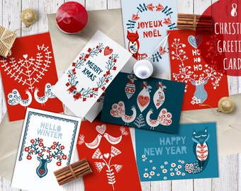 8 Holiday Greeting Cards. Christmas Greeting Cards. Holiday. Christmas. Cards. 8 images, 300 Dpi. AI; Jpg files. Instant Download.