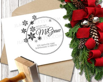 Custom Rubber Stamp Christmas Holiday Return Address Modern Address Stamp Custom Address Stamp Personalized Address Stamp JLMould Cards