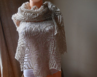 Hand Knitted Lace Shawl Traiangular mohair  yarn  light beige