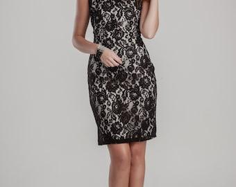 little black dress, formal short dress, black lace dress, short black dress, short lbd, pencil dress, cocktail dress, plus size dress