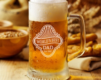 Personalized Beer Mug/World's Best Dad/Est/Custom/Label Style/Date/Engraved/16oz/Personalized/Father's Day Gift/Dad Gift
