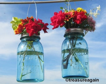 2 Hanging Mason Jar Vases with Flower Frog Lids, Wedding Mason Jars, Ball Hanging Lanterns, Mason Jar Wedding Decor Antique Blue Flower Jars
