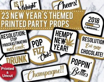 23 New Years Eve 2018 PRINTED & UNCUT Party Photo Booth Props