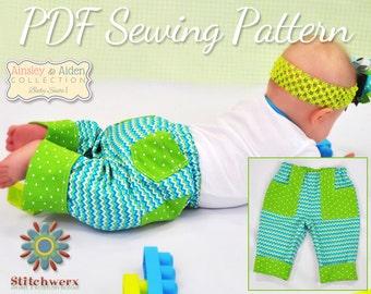 Baby Pants Pattern, Easy Baby Pants, Baby Clothes Pattern, Infant Pants Pattern, Cuffed Baby Pants, Sew Lined Baby Pants,  Preemie-12M