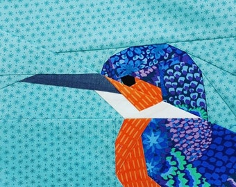 Foundation Paper Pieced Kingfisher Pattern- Woodland2 Quilt-along Block 1
