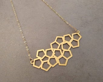 Honeycomb Necklace, Gold Geometric Necklace, Gold Necklace, Geometric jewelry, Layering Necklace, Bridesmaid Gift, Necklace, Honeycomb