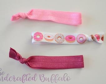 Pink hair tie, elastic hair tie, hair tie elastic, pink elastic, donut hair tie, doughnut hair tie, hair tie set, pink donut hair tie, food