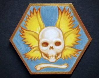 Tempus Fugit (Time Flies) original painting by Angel Hawari, skull miniature painting,  winged skull art, beautiful bones