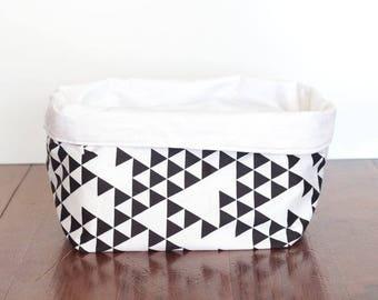 Triangles rangement panier, panier noir et blanc, Monochrome panier, panier de rangement tissus, rangement Bin, sac de rangement, Mini stockage