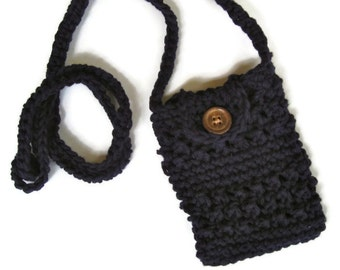 Crocheted small purse for iphone/smartphone with cross-body strap in navy- iphone cardigan