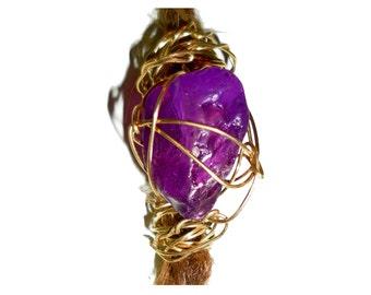 Purple brass dread bead