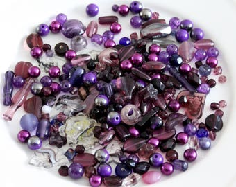 Purple Bead Mix Glass - Mix Craft Supplies - Jewelry Supplies - Bead Supplies - Loose Bead - Lot Jewelry Making - Mix Shapes and Sizes