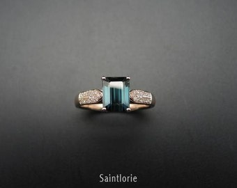 2.3 Carat Blue Tourmaline Engagement Ring