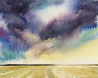 Cloud painting, Sky, sea painting, Storm painting, Storm clouds, beach painting, watercolor landscape, beach art, clouds, stormy skies
