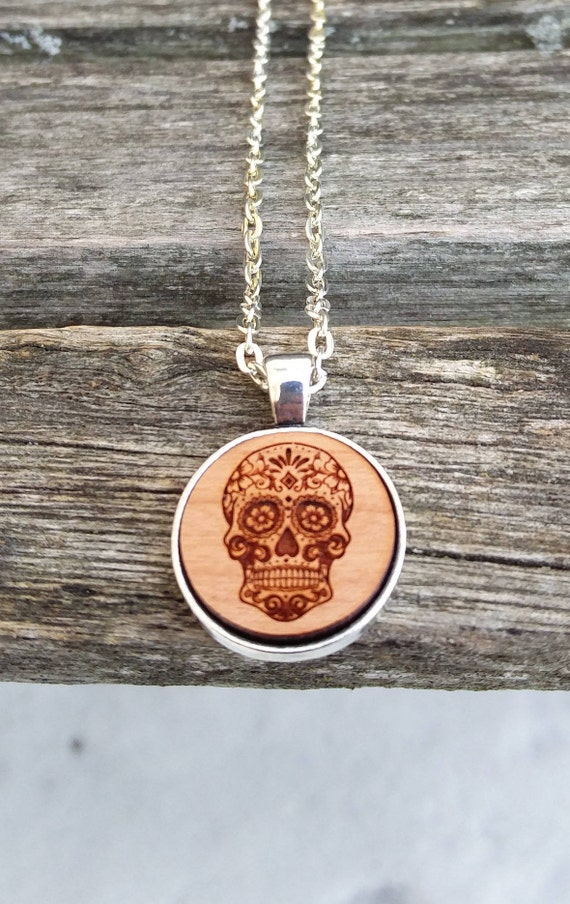Sugar Skull Necklace. Laser Engraved. Wedding, Christmas, Anniversary, Birthday, Valentine, Father's Day, Groom