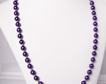 Purple czech glass pearl necklace