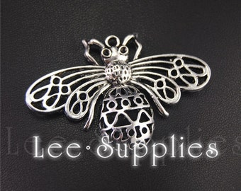 10pcs Antique Silver Alloy Honeybee Insect Charms Pendant A1959